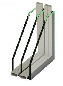 Izolační protipožární trojsklo s hliníkovým rámečkem , Ug=0,8, požární ochrana EI45,(celková síla 48,2mm – 50,6mm)